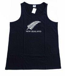 NZ Silver Fern Black Singlet - singlet, silver, fern, black, kiwi, measures, ... - Shopenzed.com