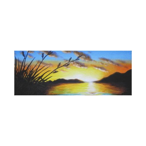 Beautiful Sunset with Flax Stretched Canvas Print