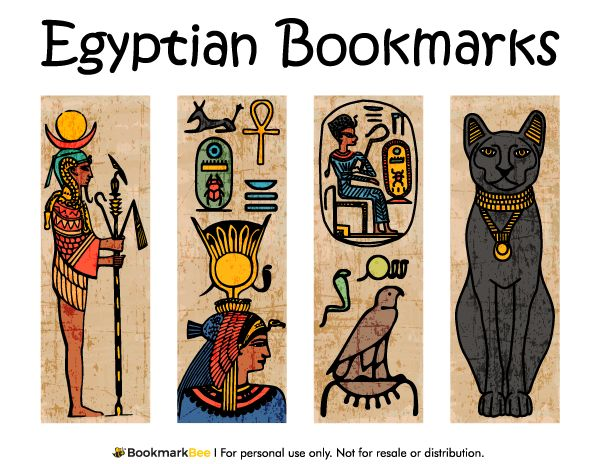 Free printable Egyptian bookmarks. Download the PDF template at http://bookmarkbee.com/bookmark/egyptian/