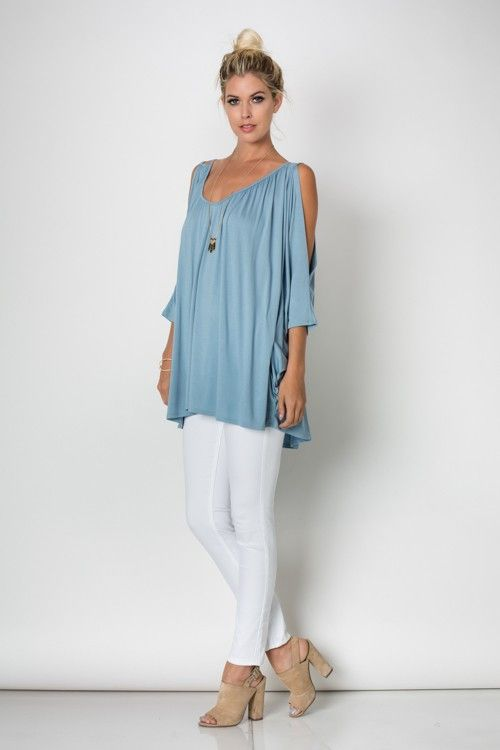Cold shoulder tunic 95%viscose and 5% lycra light weight and breezy, just perfect for summer