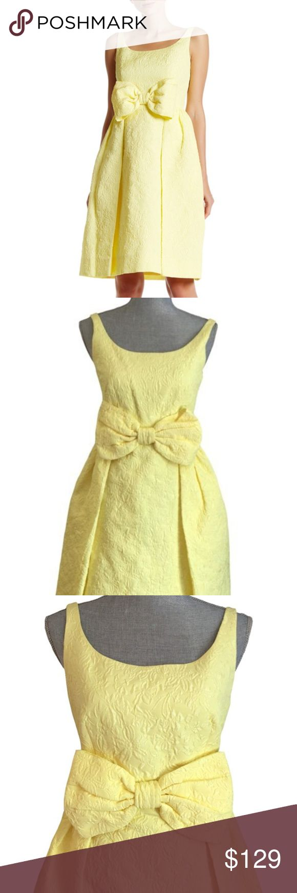 """Kate Spade Yellow Jacquard Floral Bow Dress Size 2 Kate Spade Tavor Dress Size 2 - So Pretty!   • Authentic! • New with tags $598.00 • Bust 33"""" • Waist 27""""   • Length 40"""" • Stretch polyester • Lemon Soufflé - yellow • Textured floral jacquard • Square neck • Sleeveless • Prominent bow front • Fitted bodice • Flared skirt w/pockets • Knee Length hem • Back zip close • Fully lined kate spade Dresses Midi"""