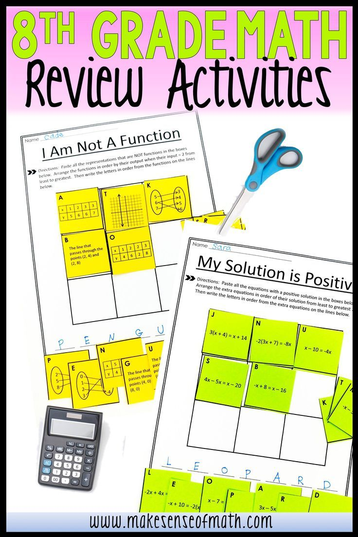 8th Grade Math Review Activities Math Review Activities 8th