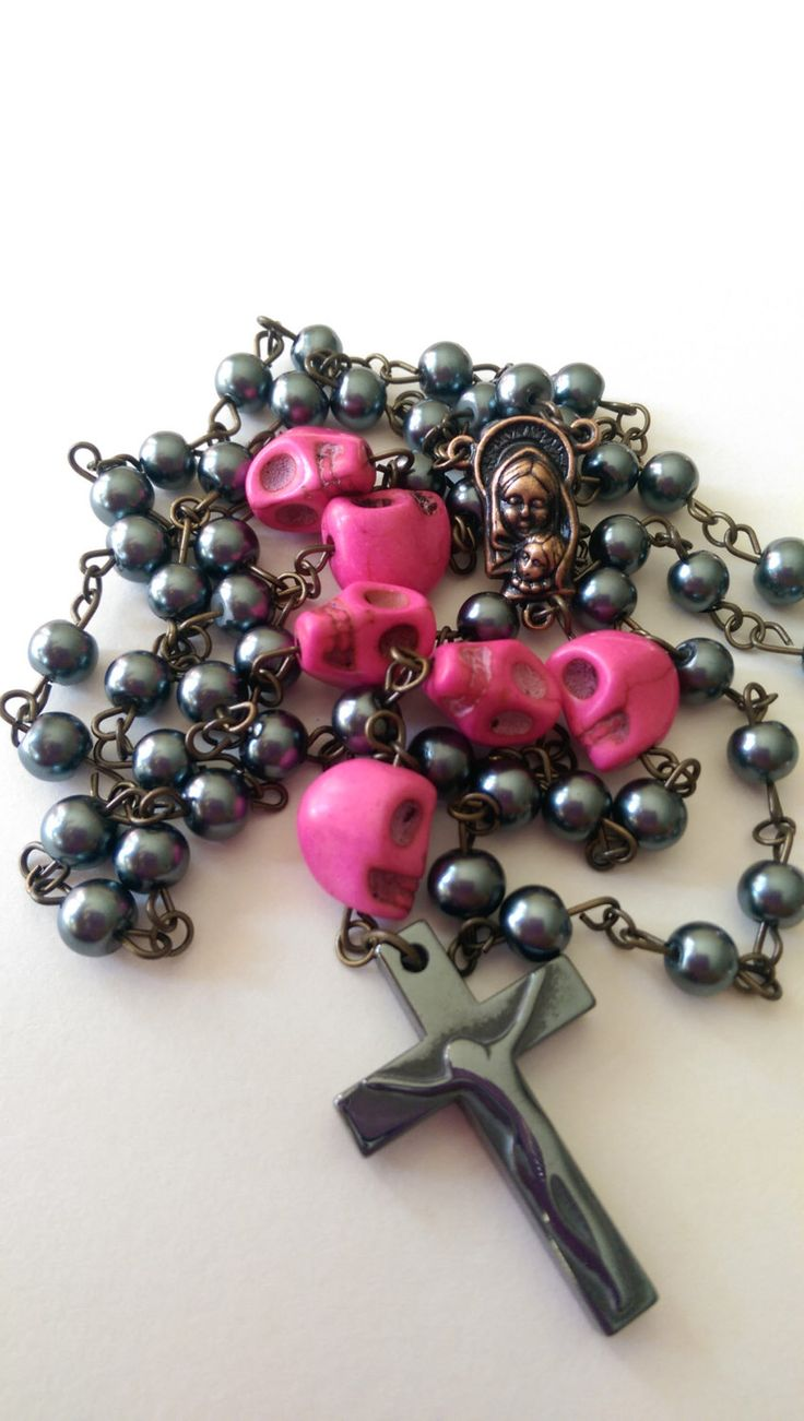 Day-of-the-Dead Gunmetal Grey Glass Bead Pink Skull Rosary Antique Copper Findings and Hemalyke Crucifix by BeadsByDesarae on Etsy https://www.etsy.com/listing/204919409/day-of-the-dead-gunmetal-grey-glass-bead