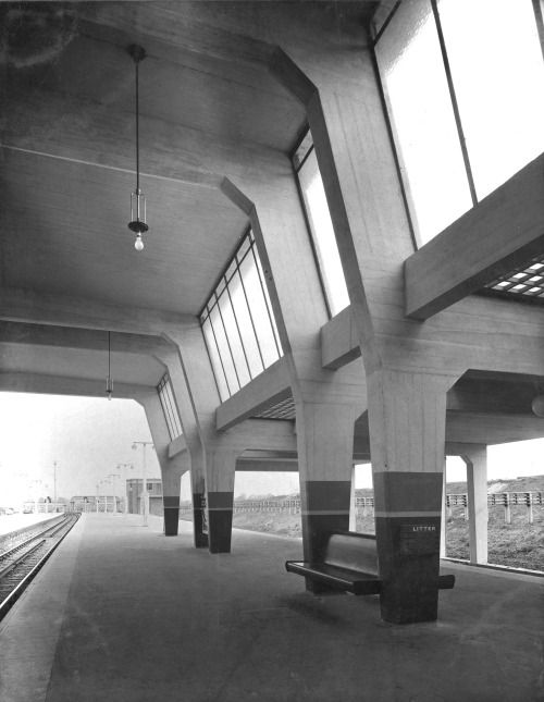 "modernism-in-metroland:  "" Cockfosters Station (1933) by Charles Holden.  Cockfosters station opened on July 31 1933, and features a long low above ground station building, with an subway entrance opposite. The ticket hall and platform areas are often..."