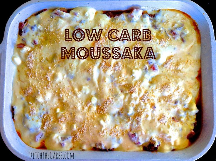 Low Carb Moussaka with my cheats version of a bechamel sauce using natural yogurt and feta cheese. Gluten free, wheat free, low carb, packed with vegetables.  http://www.ditchthecarbs.com