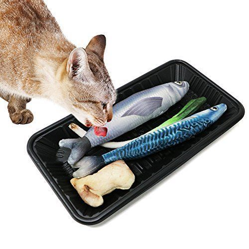 2 Pack Realistic Interactive Fish Cat Kicker Funny Crazy Toy Catnip Pet Gift NEW #Bascolor