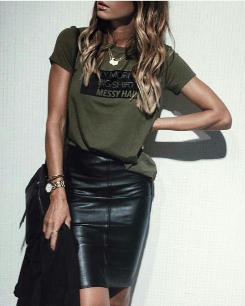 graphic tee, leather pencil skirt