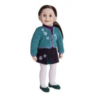Snow Crystal: Snow! Some people like it, and some people don't. Taryn is one who loves it, and shows it by wearing this snowflake-decorated sweater jacket and skirt set. Gored skirt is made of dark purple and turquoise corduroy.