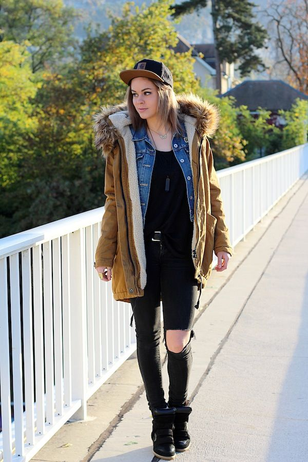 Asos Parka, Carhartt Cap, Isabel Marant black Sneakers & my perfect Obey x Levi's denim jacket.