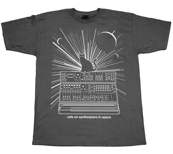 Cats On Synthesizers In Space - Grey T-Shirt