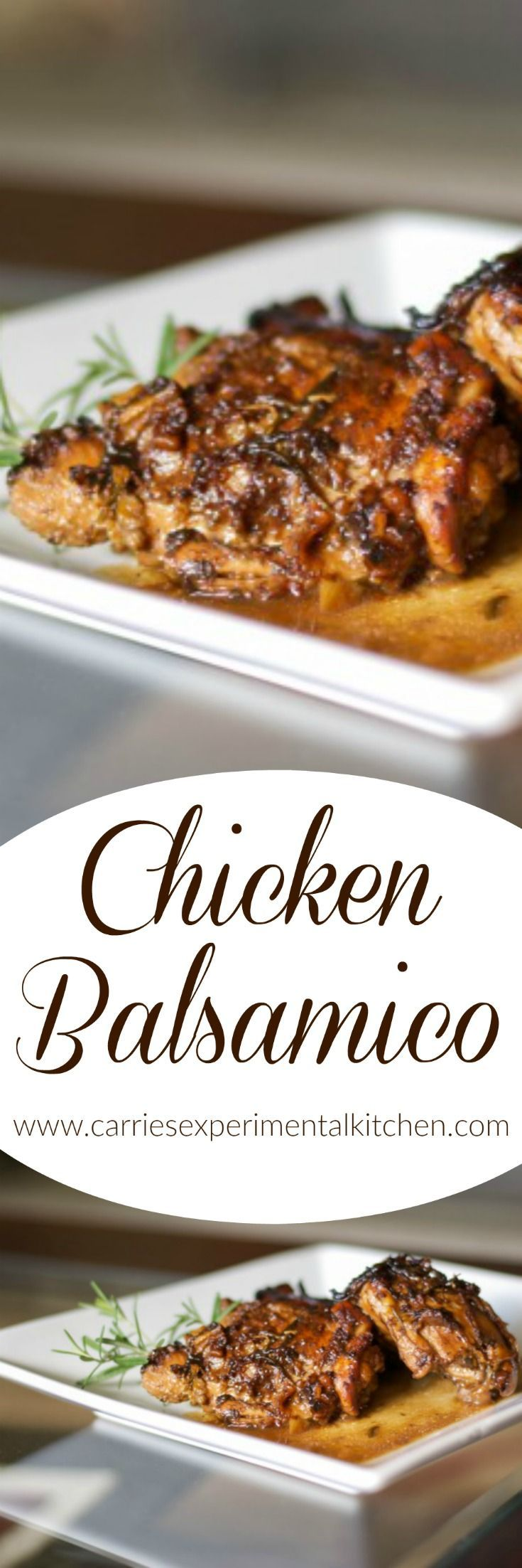Your family is going to love Chicken Balsamico made with bone-in chicken thighs cooked in a balsamic white wine sauce with fresh chopped rosemary.