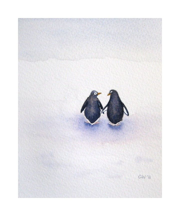 Peace, Love, and Penguins - SALE 15% OFF - coupon code 15percent - Signed Art Print - penguin watercolor home decor nursery art
