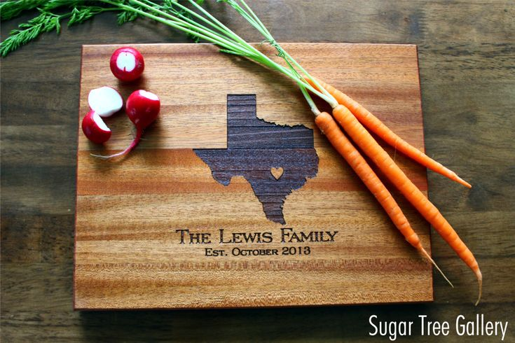 Personalized Cutting Board, Texas (OR ANY STATE) Custom Engraved State Love with Heart Over City, Gift For Her, Gift For Him, Christmas Gift by SugarTreeGallery on Etsy https://www.etsy.com/listing/163185741/personalized-cutting-board-texas-or-any