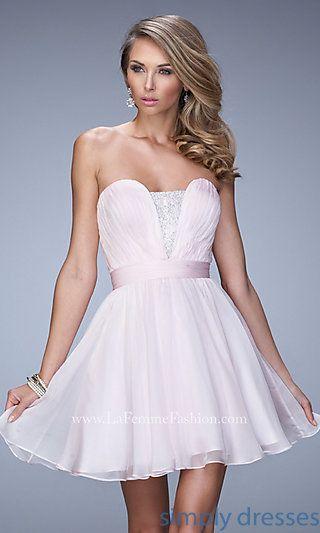 Short La Femme Strapless Homecoming Dress