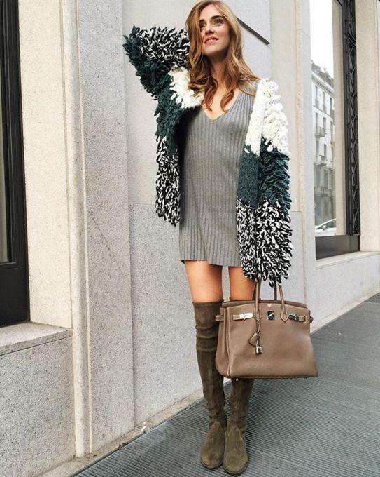 Chiara Ferragni in the Everyday Knit V-Neck Dress #MyFLL