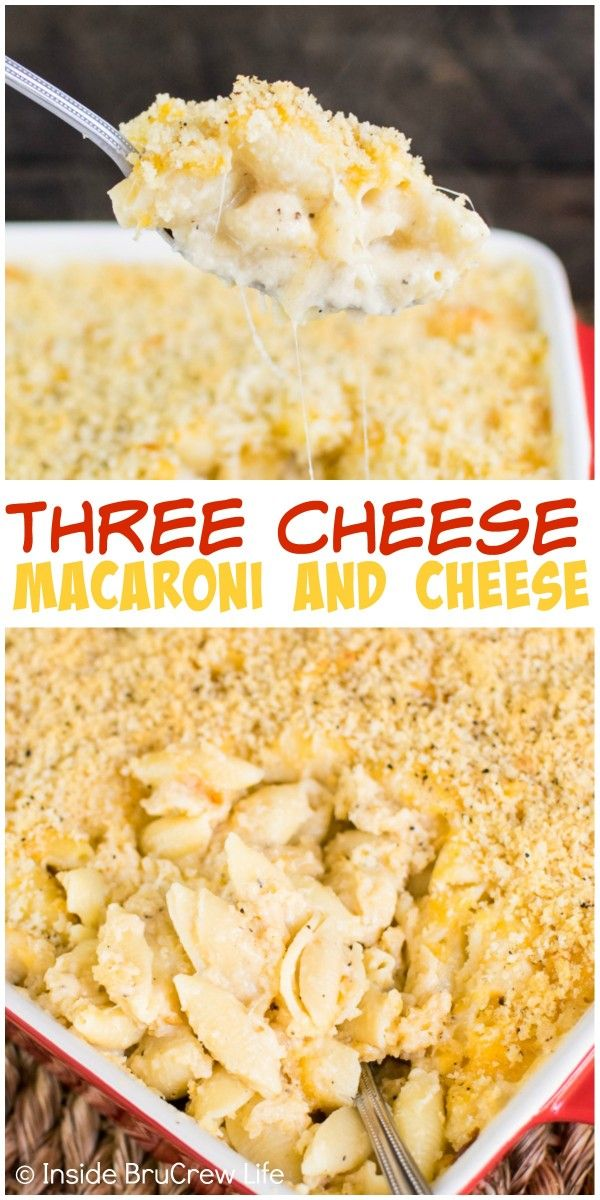 Homemade macaroni and cheese with three kinds of cheese will make everyone happy at dinner time.