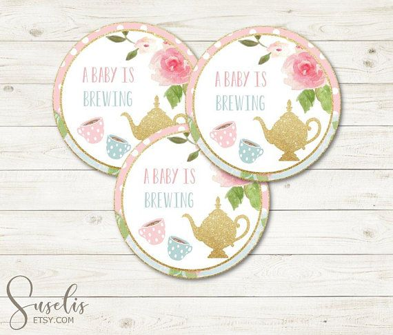 Baby is Brewing Tags Tea Party Baby Shower Stickers Instant