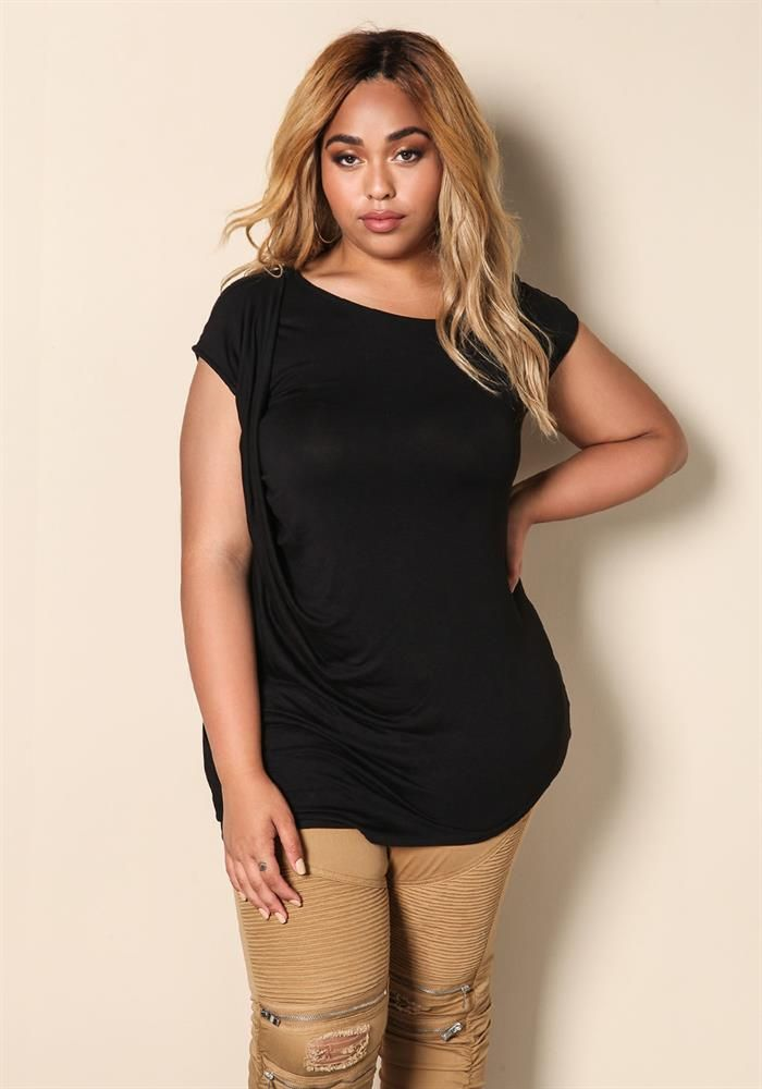 Plus Size Clothing   Plus Size Jersey Knit Draped Shirt   Debshops.com