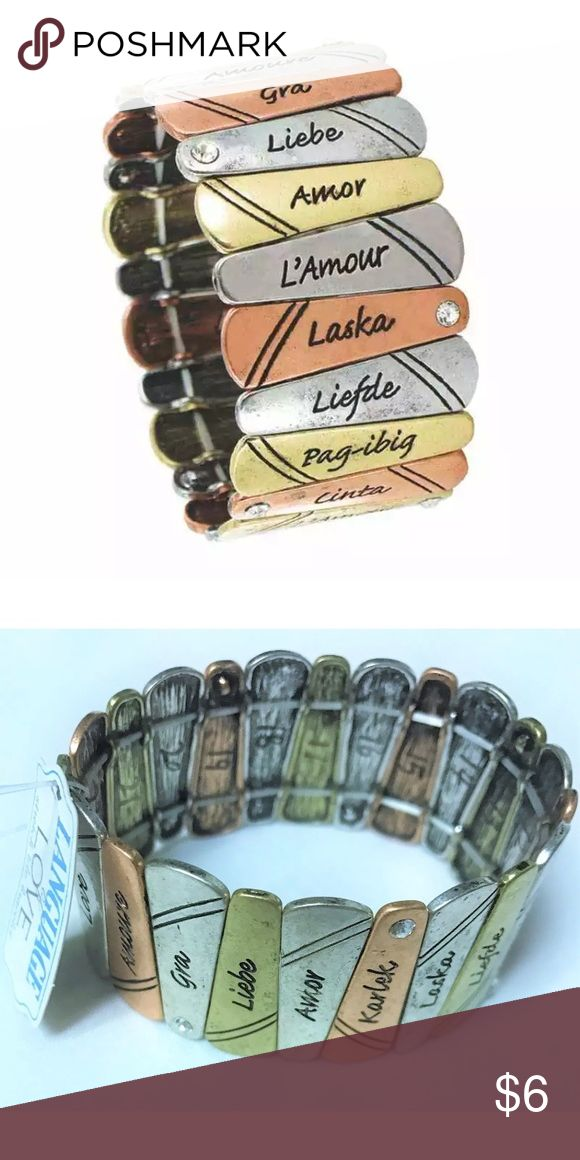 """NEW Language of Love ❤️ Bracelet NEW Language of Love Distressed Metal Tile Bracelet  Each tile has a distressed look.  The word in love in various languages on the tiles.  Several tiles have a single clear rhinestone.  Each metal tile measures approximately 3/4"""" long.   Thank you so much! Jewelry Bracelets"""