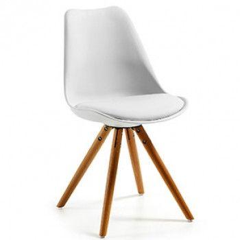 Chaise Ralf, naturel et blanc