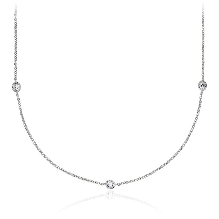 Bezel-Set Stationed Diamond Necklace in 14K White Gold (3/4 ct. tw.), Women's, White Gold Diamond