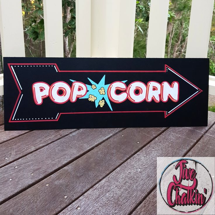 Pass the popcorn, please! A cute sign created for a popcorn market stall.