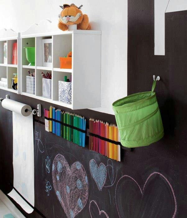 Un coin atelier créatif pour les enfants, peinture tableau noir, crayons multicolores | creative artistic kid's bedroom