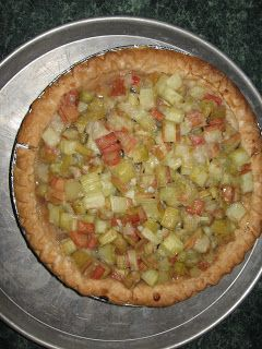 Amish Rhubarb Crumb Pie --