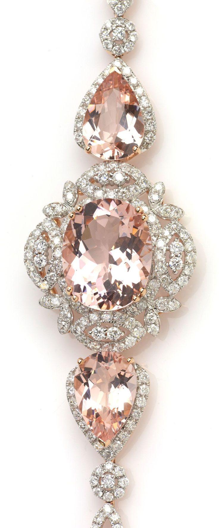 Pink Morganite & Rose Gold Diamond Bracelet. Item #416-133416 Michael Christoff 16.21 ctw Morganite Multi-shape & 2.70 ctw Diamond Round 14K Rose Gold Bracelet Length 7.25 - Gem Shopping Network