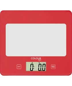 ColourMatch Square Digital Kitchen Scale - Poppy Red.
