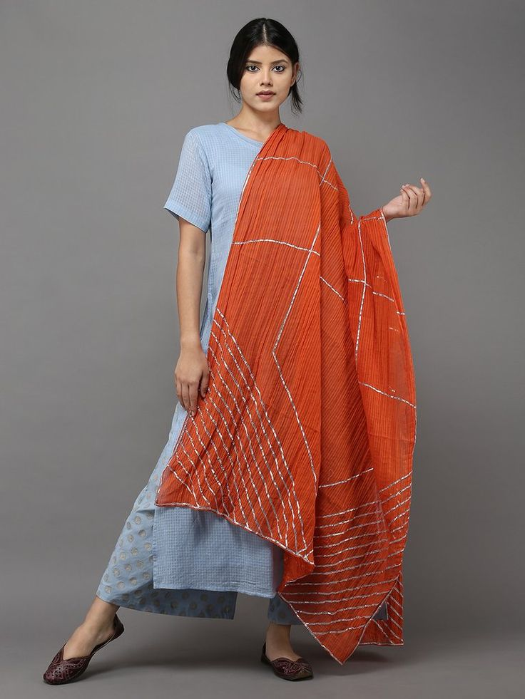 Orange Gota Detailing Cotton Dupatta