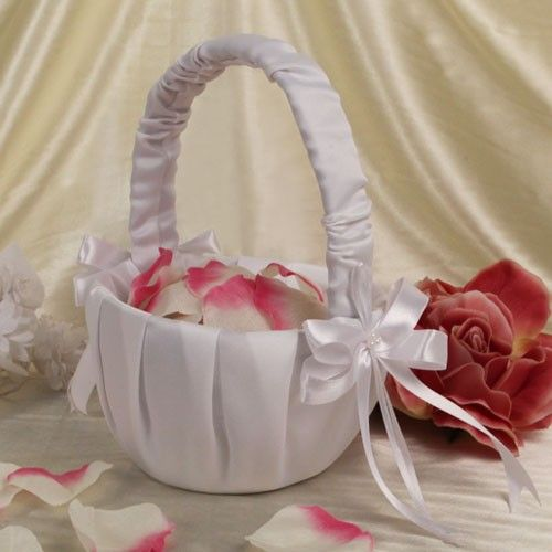 """A flower girl should have a basket as beautiful as she is! Ruby Blanc's """"Brilliant Basket"""" is the perfect elegant flower girl basket for your wedding ceremony.   #weddings #flowergirl #flowerbasket #wedding #partysupplies #party #wedding"""