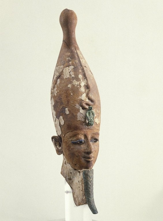Head of the God Osiris:Medium: Wood, bronze, inlaid glass eyes  Place Made: Egypt  Dates: 305-30 B.C.E.  Period: Ptolemaic Period