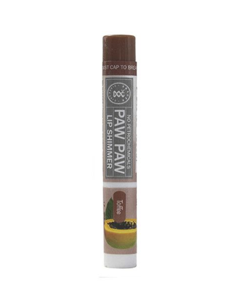 Paw Paw Lip Shimmer Toffee 2g- Paw Paw Lip Shimmers' natural formula is rich in Paw Paw with the added nourishment of Shea Butter,  Honey, Vitamin E and Grapeseed Oil to moisturise dry lips, leaving them with just a hint of colour. The petrochemical-free formula is gentle on sensitive lips and is available in six fashion-forward colours. Paw Paw Lip Shimmers are perfect to throw in your handbag and use without a mirror when you're on the go.