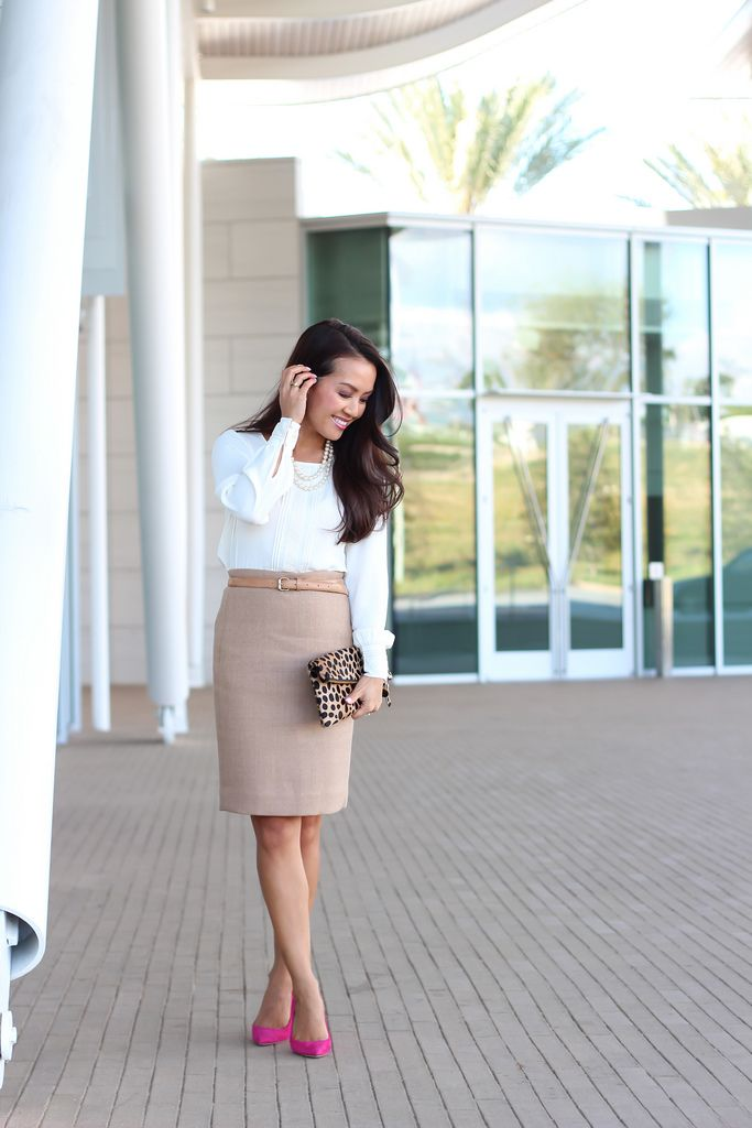 J.Crew No. 2 Pencil Skirt in Double Serge Wool, Everly Berry Pumps and Loft Lace Trim Pleat Front Blouse