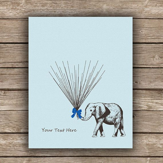 Baby Shower / Children's Birthday Guestbook Alternative Circus Elephant holding Thumbprint / Fingerprint Balloons Poster / Guest Sign