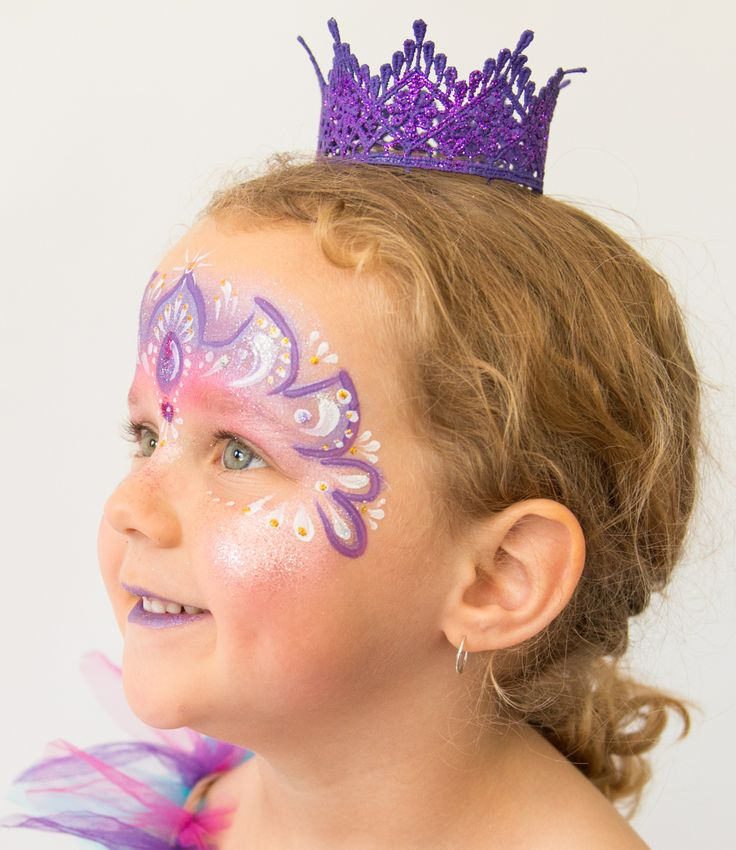 Purple princess face painting designs by Brisbane face painter, Fairy Sparkles Face Painting.
