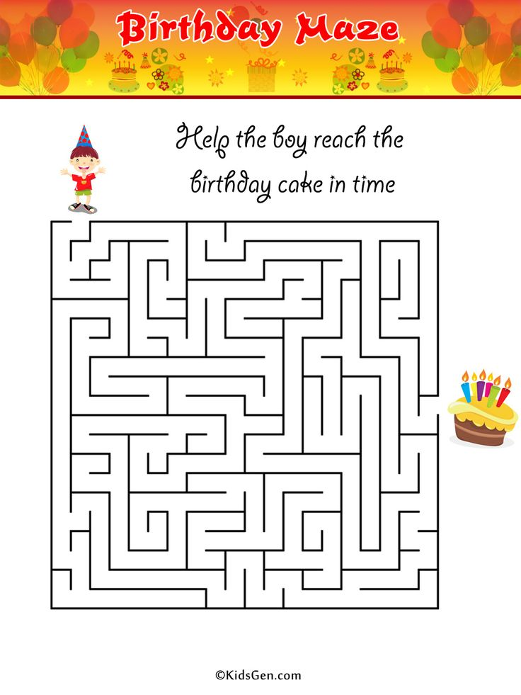 birthday maze Colouring Pages