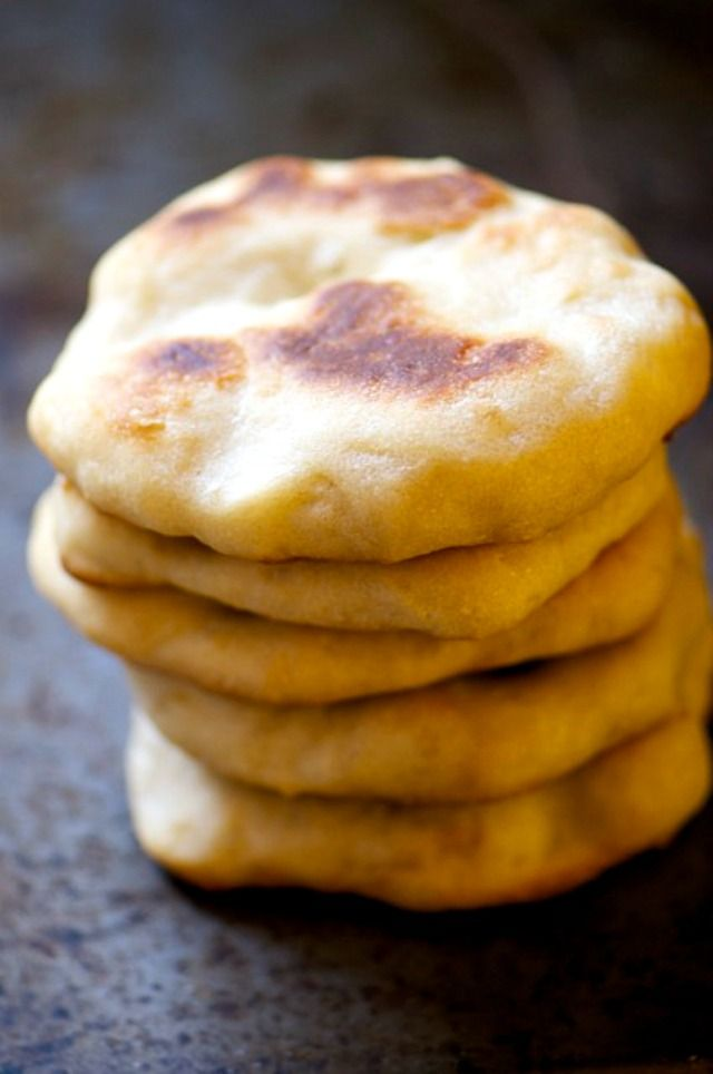 Some people may fry this bread, but it's perfectly good having oven-baked Naan bread. In fact, it's yummy!