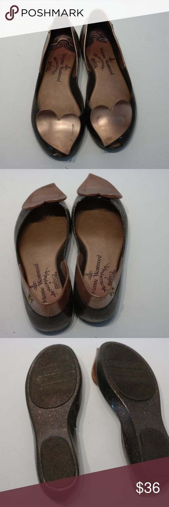 Melissa Vivienne Westwood Heart Glitter Flats Scratches. Has a tear on the side of one of the shoes. Vivienne Westwood Shoes Flats & Loafers