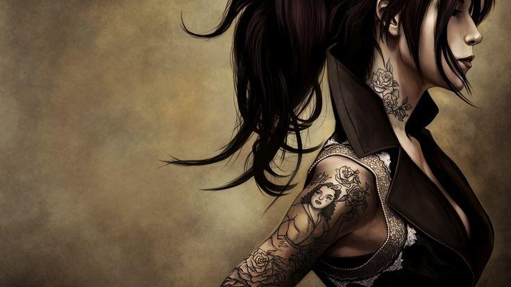 fantastic tattooed girl wallpaper