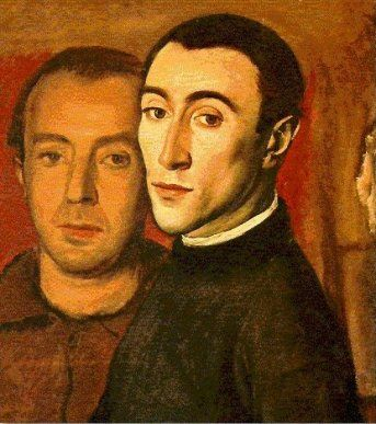Self Portrait with Nikos Nikolaou, 1937  Yiannis Moralis