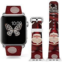 iWatch/iWatch 2 Bands strap 38mm,Apple Watch/Apple Watch 2 Band Genuine Prime Elegant Leather Replacement With Silver Metal Adapter - Red Design Christmas Gift Present