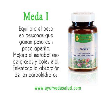 Meda I es un suplemeto ayurvédico 100% natural que ayuda a equilibrar el peso de las personas que ganan peso con facilidad. Mejora el metabolismo de las grasas y el colesterol y ayuda a enlentecer el proceso de absorción de los carbohidratos.