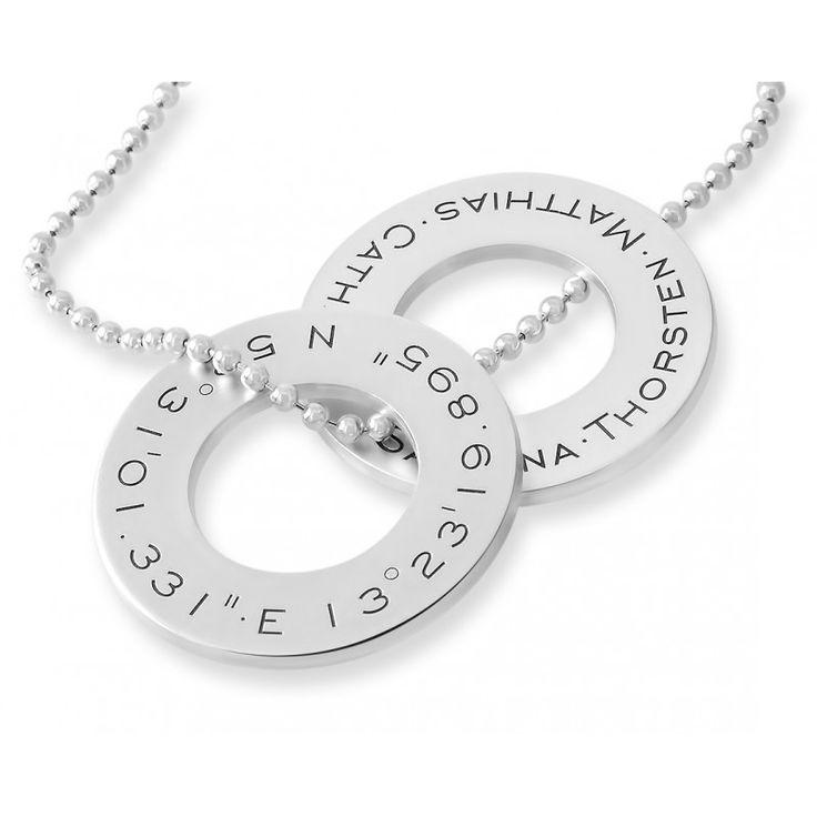 Ein wunderschöne extra dicke massive 925 Sterling Silber Anhänger-Ringe designed mit Ihren Wunschkoordinaten, Wunschnamen, Wunschdaten oder Ihrem Wunschtext.