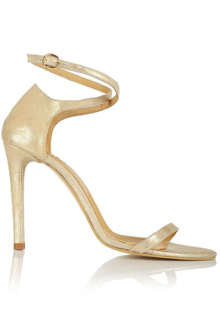 Sandale cu toc si barete subtiri piele aurie
