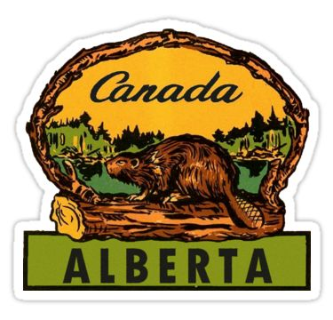 Alberta Beaver AB Canada Vintage Travel Decal / These retro travel designs will make a great addition to your RV / Airstream / Winnebago / travel trailer / motorhome / westfalia / pickup / luggage / thule / dog / baby – the awesome can go anywhere! Don't settle for boring, load up on vintage class. / WAIT! Before you leave, check out my HUGE selection (multiple collections) of other vintage travel decals!* • Also buy this artwork on ...