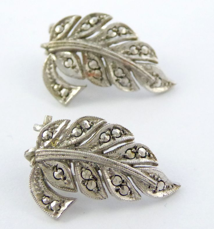 Vintage Art Deco German Sterling Silver Marcasite Earrings - The Collectors Bag
