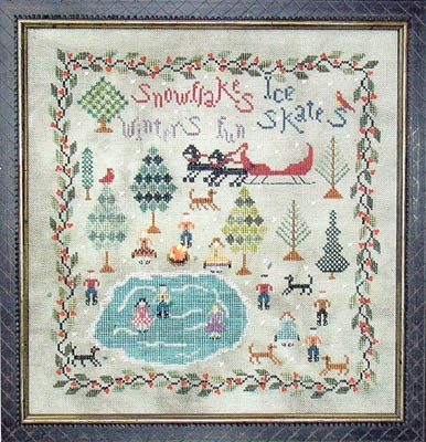 how cute is this for winter stitching?!? The Skating Party - Cross Stitch Pattern:  Hankey, Crosses Stitches Patterns, Winter Stitches, Skating Party, Skating Parties,  Hankie,  Hanky, Cross Stitch Patterns, Cross Stitches