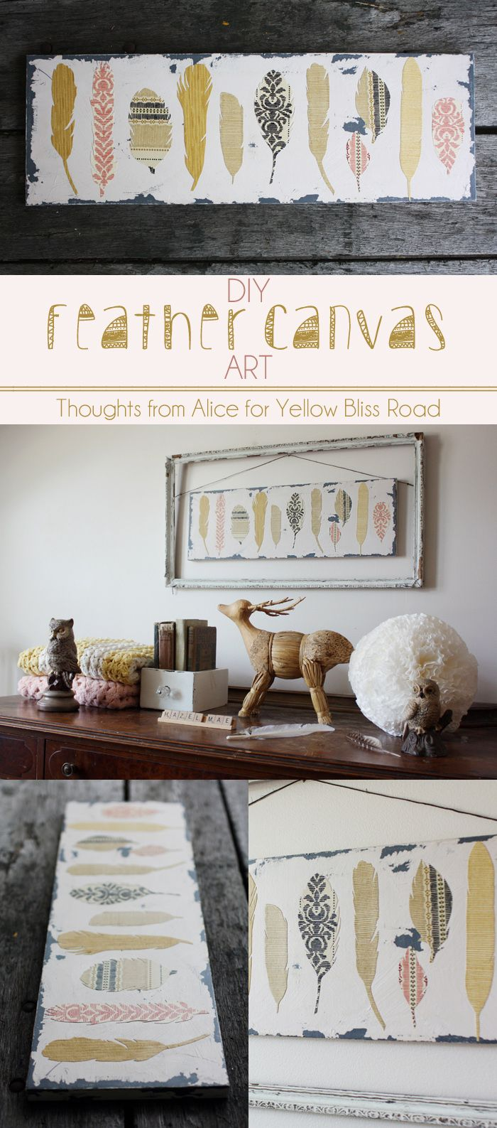 DIY Feather Canvas Wall Art - Super simple tutorial to create a stunning piece of custom art! Thoughts from Alice for Yellow Bliss Road